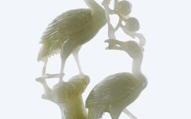 CHINESE WHITE JADE GROUP OF TWO CRANES