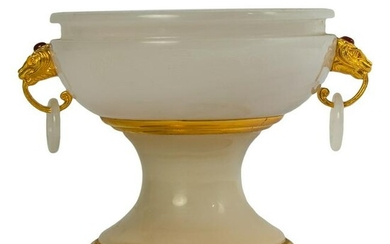 Chinese Carved White Hard Stone Footed Urn Censer