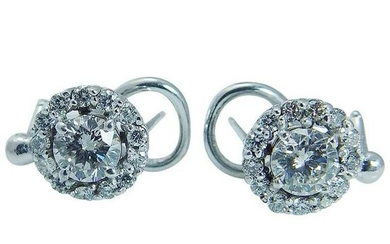 Diamond Earrings 14K White Gold Vintage 1.52 TDW