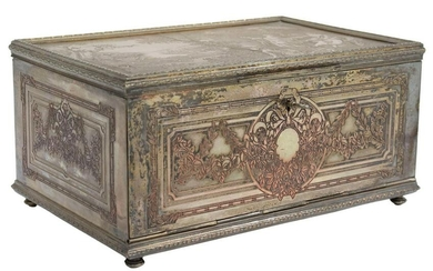 FRENCH SILVER PLATE JEWELRY CASKET, 19TH C.