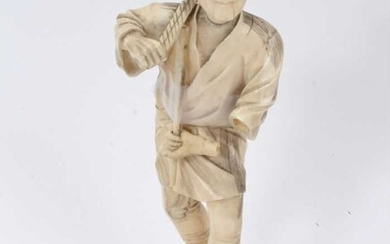 Fine quality late 19th / early 20th century Japanese carved ivory figure of a kneeling child, inset red signature plaque to underside 4cm high, together with a Japanese Meiji period okimono depicti...