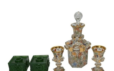 Five Continental Style Glass Table Articles.