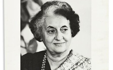 GANDHI, INDIRA. Photograph dated and Signed, bust
