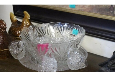 Glass Punch Bowl with 11 Punch Cups