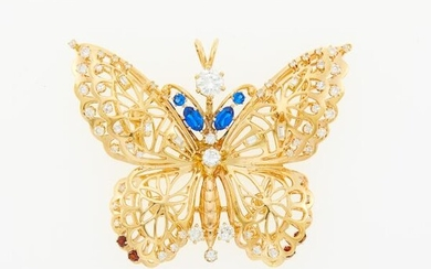Gold, Diamond, Synthetic and Gem-Set Butterfly Pendant