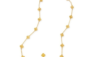 Gold 'Vintage Alhambra' Necklace and Pair of Earclips, France, Van Cleef & Arpels