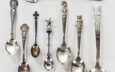 Group of Sterling Silver and Silver-plated Souvenir Spoons