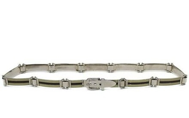 Gucci Silver belt with cream and brown enamel