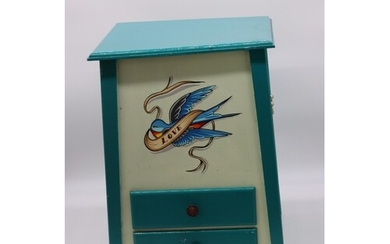 Hand Painted wooden little cabinet Salvage from a fairgroun...