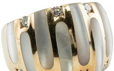 Kabana Diamond Mother of Pearl Ring 14K Gold Band