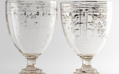 Large Crystal Vases with Silver Overlay, Pair