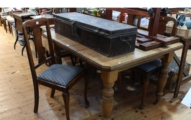 Late 19th/early 20th Century oak extending dining table, lea...