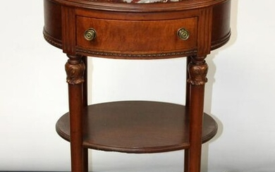 Louis XVI style oval chevet with marble top