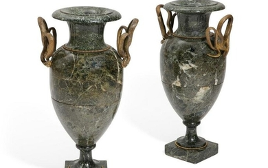 Neoclassical style gilt bronze & marble vases