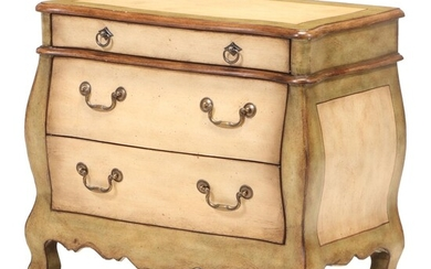 Painted Painted-Wood Three-Drawer Bombé End Table