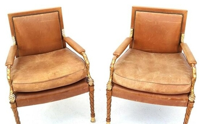 Pair Neoclassic Parcel Gilt Birch Wood Arm Chairs