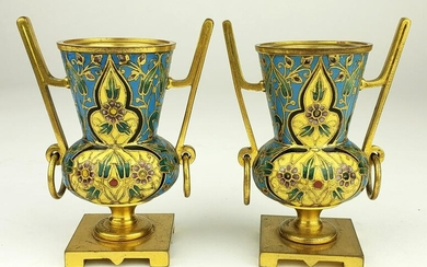 Pair of 19th C. French Champleve Enamel & Bronze Vases