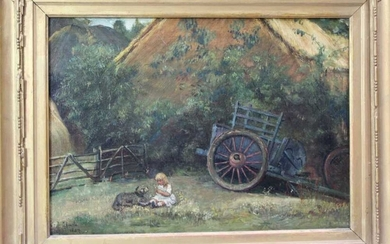 Pair of 19th century Continental school oils on canvas - figures and hay carts, depicting a child with dog and a lady feeding chickens 25.5cm x 36cm
