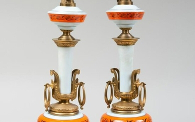 Pair of French Gilt-Metal-Mounted Enameled Opaline