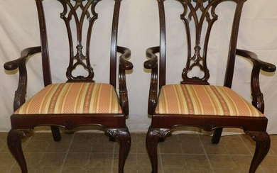 Pair of Mahogany Chippendale Arm Chairs