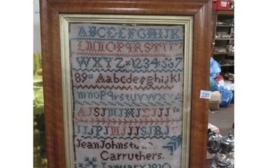 "Period Sampler in Georgian Burr Maple Frame Approx 21.5"" x 1..."