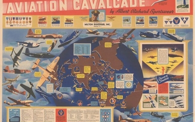 """Price reduced by $300! Propaganda Map Promoting US Military Aviation During WWII, """"Wings Over the World... Yesterday, Today and Tomorrow Aviation Cavalcade by Albert Richard Sportswear"""""""