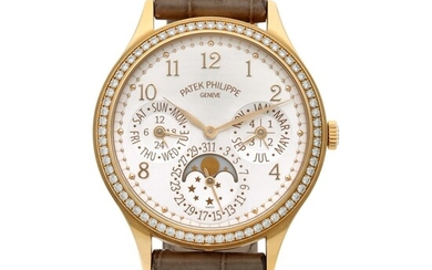 Reference 7140, A yellow gold and diamond-set perpetual calendar wristwatch with moon phases, 24 hours and leap year indication, Circa 2017, Patek Philippe
