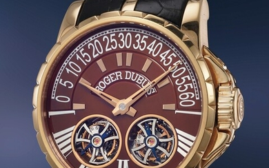 Roger Dubuis, Ref. EX45 01 5 NB.671 A large and bold pink gold wristwatch with double tourbillon and power reserve, box and guarantee number 7 of a 28 piece limited edition
