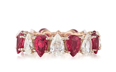 Ruby Pink Sapphire and Diamond Eternity Band