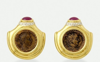 Ruby, diamond, and gold coin earrings