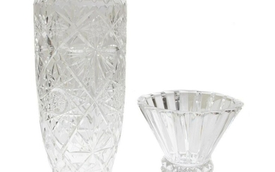 SET OF TWO CERMAN CLASSIC CUT CRYSTAL GLASS VASES
