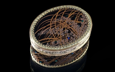 SMALL JAPANESE LACQUER SNUFFBOX, JULIEN ALATERRE - JEAN-BAPTISTE FOUACHE, PARIS, 1768-1774. Oval shape, the hinged lid is decorated with a lacquered panel with a black background and gold highlights representing reeds and wild branches decorated...