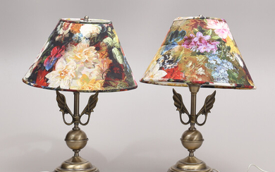 TABLE LAMPS, a pair, metal, late 20th century.