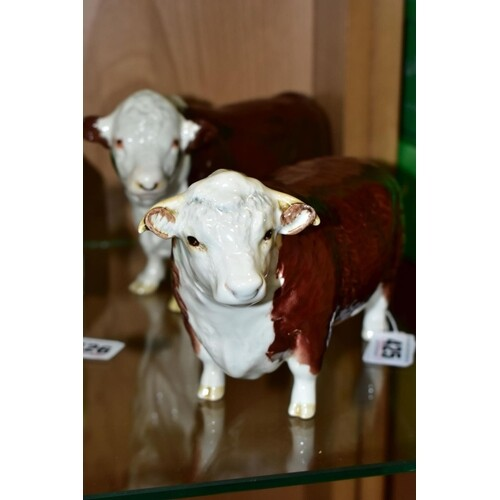 TWO BESWICK HEREFORD BULLS, comprising No.1363A (first versi...