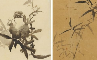 TWO INK PAINTINGS WITH BAMBOO AND POMEGRANATE. Japan. Edo/Meiji period....