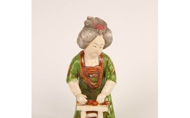 Tang style 'Green dress' Chinese Woman, glazed and painted E...