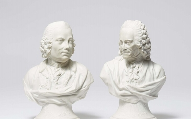 Two Berlin KPM biscuit porcelain busts of Voltaire and Marquis d'Argens