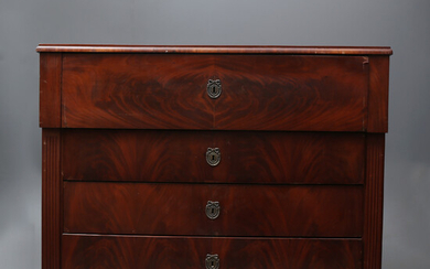 Victorian chest of drawers-desk in mahogany and mahogany, late 19th Century.
