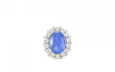 White Gold, Cabochon Sapphire and Diamond Ring