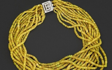 YELLOW OPAL NECKLACE WITH DIAMOND CLASP