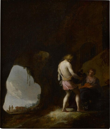 Young man and woman in a cave, Moses Matheusz. van Uyttenbroeck