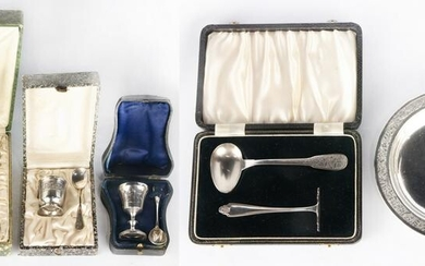 (lot of 11) Silver and silver plate presentation sets