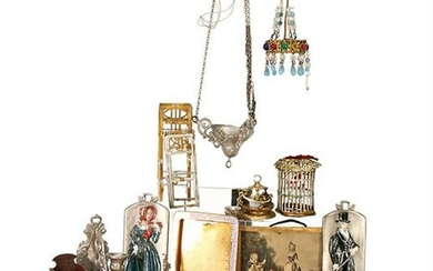 mixed lot of tin parts, small birdcage, 4 cm, ceiling