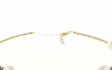 n - 18 kt. Freshwater pearl, Yellow gold - Necklace - 4.32 ct Emerald - Pearls