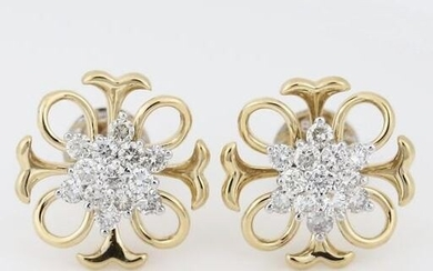18 K / 750 Yellow Gold IGI Certified Diamond Earrings