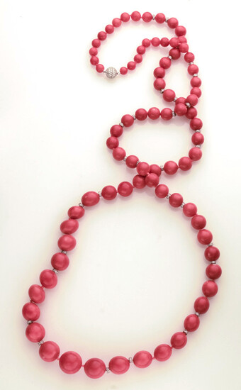 18K gold, coral and diamond beaded necklace.