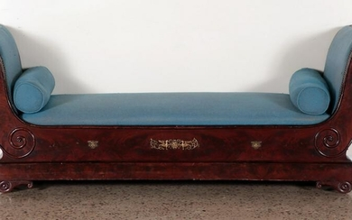 19TH C. EMPIRE STYLE FLAME MAHOGANY DAY BED
