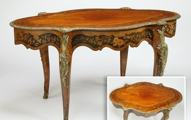 19th c. marquetry inlaid gilt bronze mounted table