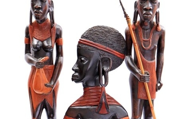 (-), 2 African wooden statues of a man...