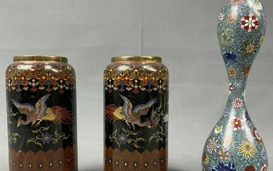 3 vessels of cloisonné. Probably Japan, China